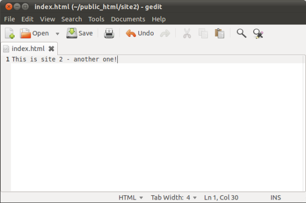 Screenshot - index.html (~/public_html/site2) - gedit